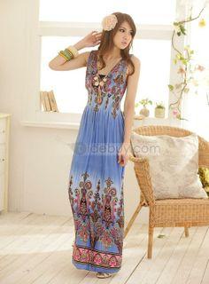 Charming Empire Waist V-neckline Floral Imprint Maxi Dress : Tidebuy.com