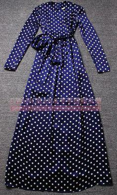 2014 Лето женщин Элегантный Цельные платья с небольшими горошек платье с длинным рукавом Тонкий Юбки бантом Пояса 533,74