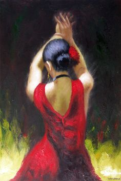 Spanish Gypsy Dancer Flamenco Red Dress Oil Painting