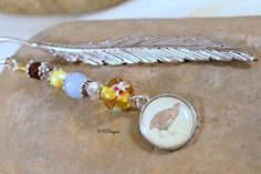Feather Beaded Bookmark Bird Charm Lampwork Bead by CKDesignsUS