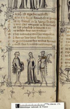 """Put the Harp"" Dit de la harpe (BNF Fr. Medieval Costume, Medieval Dress, Medieval Fashion, Medieval Clothing, Medieval Art, Medieval Manuscript, Illuminated Manuscript, 14th Century Clothing, Grisaille"