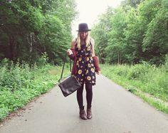 Asos Sunflower Dress, H&M Cardigan, Vintage Store Boots