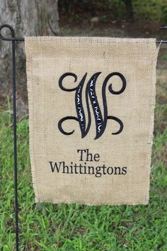 Personalized Burlap Garden Flag by TheWhimzyTree on Etsy, $24.00