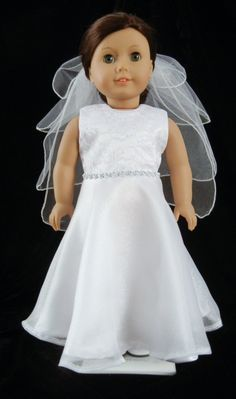 Jeweled Sleeveless First Communion, Wedding, or Flower Girl Dress for American Girl or 18 inch Doll. $35.00, via Etsy.
