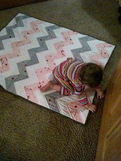 Chevron baby quilt or Half Square Triange (HST) quilt
