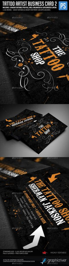 Tattoo Artist Business Card Design Template V.2 - Industry Specific Business Card Template PSD. Download here: http://graphicriver.net/item/tattoo-artist-business-cards-v2/16847968?ref=yinkira