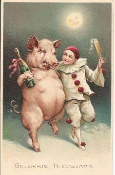 New Birthday Box Card Pictures 16 Ideas Vintage Birthday Cards, Vintage Cards, Vintage Postcards, Vintage Santas, Vintage Christmas, Pig Character, Happy Pig, Pirate Art, Pig Art