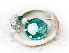 Jellyfish Necklace, handmade lampwork glass pendant in Ocean teal on silver chain, beach jewelry by MayaHoney