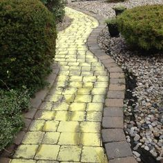 "I painted a yellow brick road in my back yard for my granddaughter's ""Wizard of Oz"" birthday party.  The sidewalk paint was made from cornstarch, water, and yellow food coloring that easily washes off."