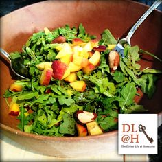 Today's MEGA bowl salad : arugula, balsamic and oil, fresh peaches, pepper and hazelnuts.  Hope your taste buds are inspired.  #megabowlsalad #eatyourgreens #stopforsnacks #loveyourbelly  #thedivinelifeathome
