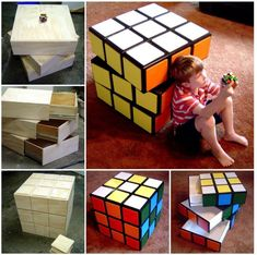How to DIY Rubik's Cube Chest Drawers Tutorial. #diy, #furniture, #forkids
