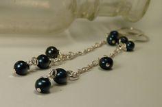 Long Blue Peacock Pearl & Silver Chain Dangle Earrings by ksyardbird, $20.00