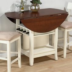 jofran counter height table in white/cherry. get with 4 chairs?