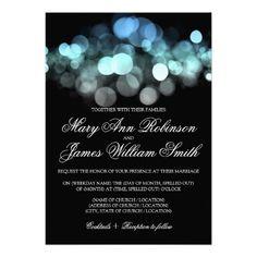 Elegant #Wedding Glowing Blue Lights Card