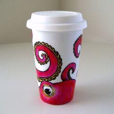 Octopus Ceramic Travel Mug Painted Pink Orange Kraken Sea Creature Eco Friendly black white, $35.0