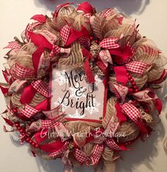 Burlap Merry Christmas Holiday Mesh Wreath by GlitzyWreathBoutique