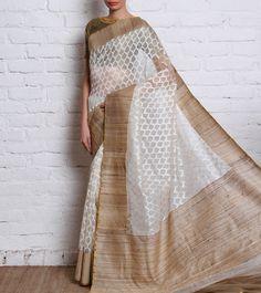 White Dhakai Net Saree