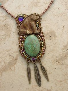 Bronze bear Necklace. $176.00, via Etsy.