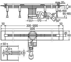 Kompletný sprchový žľab so štrbinovým roštom, nastaviteľná dĺžka žľabu od 300  do 1200 mm, nerezový materiál, minimálna inštalačná výška od 95mm Dĺžka