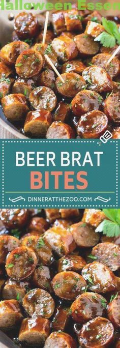 These beer brat bites are juicy bratwurst sausages that are grilled to perfection, then sliced and tossed in a beer glaze. Sausage Appetizers, Finger Food Appetizers, Holiday Appetizers, Appetizer Dips, Finger Foods, Appetizer Recipes, Shrimp Appetizers, Party Appetizers, Halloween Fingerfood