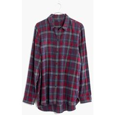 MADEWELL Flannel Ex-Boyfriend Shirt in Bainbridge Plaid ($55) ❤ liked on Polyvore featuring tops, shirts, flannels, long sleeves, red sangria, long sleeve shirts, plaid flannel shirt, purple plaid shirt, button down shirts and plaid shirts