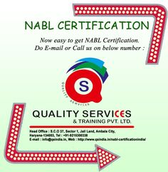 If you need Nabl Certifications, then contact to Quality Services & Training Pvt. Ltd. Phone: 91-9215300338 Email id: info@qsindia.in Website: http://www.qsindia.in/nabl-certificationindia/ S.c.o. 37, sector-1, jail land, ambala city – 134 003 haryana Twitter: https://twitter.com/qualityservic11 Facebook: https://www.facebook.com/isocompanyindia?ref=hl
