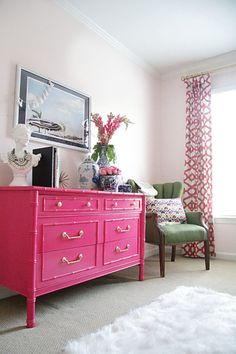 15 Gorgeous Painted Dresser Ideas- Pink bamboo bedroom dresser.