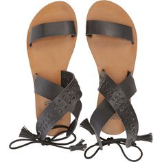 Billabong Women's Sweet Ophelia Sandals ($50) ❤ liked on Polyvore featuring shoes, sandals, footwear, off black, black ankle wrap sandals, braided sandals, black tie shoes, fringe sandals and black ankle strap sandals