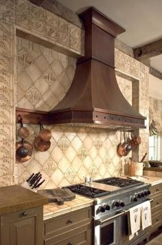 Hand painted terracotta kitchen feature wall - Tabarka Studio @ ADR