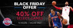 Black Friday Offer - 40% Off Select Detroit Pistons Games