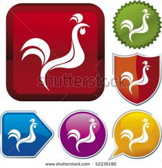 Vector icon illustration of rooster over diverse buttons. Only global colors. Easy color and proportions changes. Rooster Images, Rooster Logo, Vector Icons, Royalty Free Stock Photos, Wings, Power Button, Illustration, Pictures, Tat