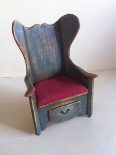 Miniature Dollhouse SIGNED Cindy Maloy Handmade Rustic Bible Chair  OOAK