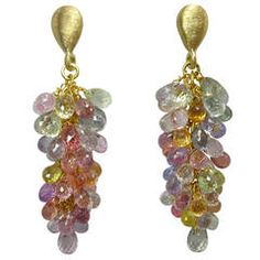 Jona Multicolor Sapphire Gold Grape Cluster Drop Earrings | From a unique collection of vintage dangle earrings at https://www.1stdibs.com/jewelry/earrings/dangle-earrings/