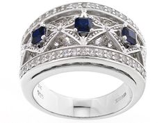 Bella Luce (R) 3.00ctw Sapphire And White Diamond Simulants Rhodium Over Sterling Silver Ring