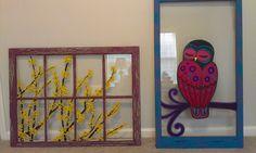 Forsythia & Hoot Owl combo shot. Kopasetic Window Panes Painted Window Panes, Look Vintage, Owl, Hand Painted, Windows, Glass, Frame, Painting, Home Decor