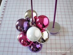 How to Make a Tabletop Christmas Ornament Tree Using a Knitting Needle