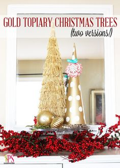 Gold Topiary Christmas Tree Set (Swell Noel many more ideas on this site! Christmas Tree Topiary, Homemade Christmas Tree, Creative Christmas Trees, Gold Christmas Tree, Christmas Tree Crafts, Handmade Christmas, Christmas Holidays, Christmas Decorations, Topiary Trees