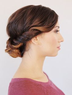 Updo for Medium Hair via oncewed Instructions 1. Start off by curling all of your hair to add texture. 2. Next, section off the two front parts of your hair. These sections should start behind your...
