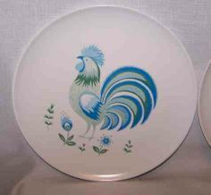 Melmac Dinnerware Patterns | Details about Vintage Melmac BLUE ROOSTER Dishes PLATES & SAUCERS ...