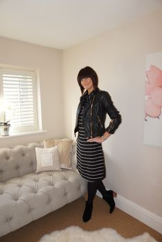 My Midlife fashion, Zara leather biker jacket, mango block heel ankle boots, marks and spencer autograph striped shirt dress