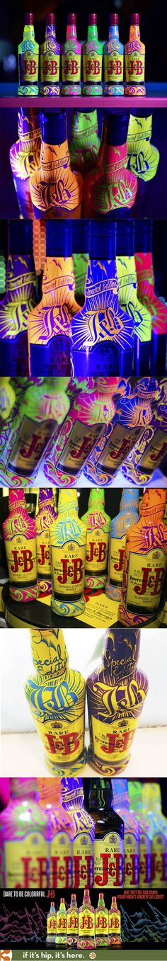 In addition to their other Tattooed Bottle, J&B has released 1000 UV light Colored Tattoo bottles designed by Agency Nude of Paris.