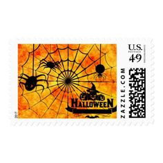 #Scary Spider Pumpkin Happy Halloween Postage - #Halloween happy halloween #festival #party #holiday