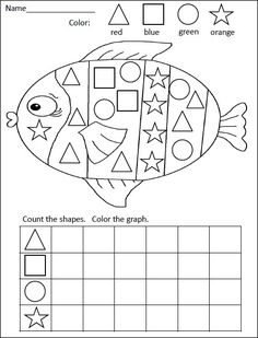 FREE kindergarten math activity for practiciing shapes and graphing= Rainbow Fish Graphing Activities, Kindergarten Math Activities, Homeschool Math, Fun Math, Numeracy, Rainbow Fish Activities, Kindergarten Shapes, Math Games, Preschool Ocean Activities