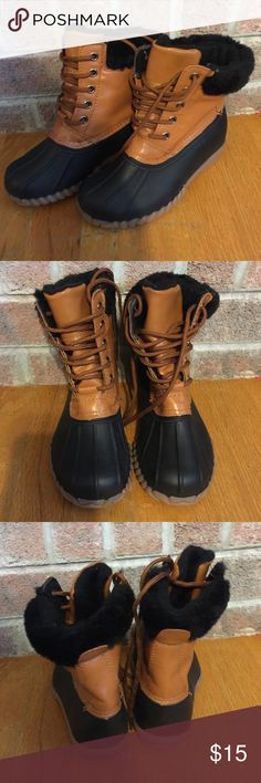 "Girls Size 13 black and brown ""duck"" boots Please feel free to ask any questions or make an offer, and as always THANK YOU for shopping my posh closet! Xoxo -Tish Shoes Rain & Snow Boots"