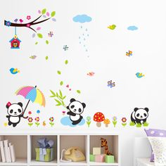 Oversize Cute Panda Wall Stickers Under the Tree Wall Decal Nature Scenery Stickers Baby Room for Kids Room Home Decor #Affiliate