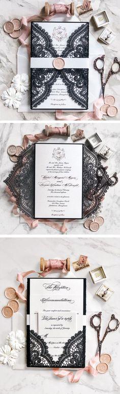 black lace wedding invitation with stylish band/ laser cut spring wedding invitations/ printable wedding invitations