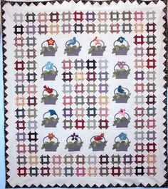 Scrapbag Baskets quilt by Painted Pony.  2015 BOM at Common Threads Quilting.  Baskets and Churn Dash blocks.