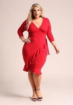 Plus Size Clothing | Plus Size Faux Wrap Ruffle Bodycon Dress | Debshops