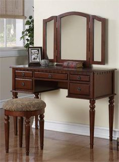 Tri-Fold Brown Wood Vanity Makeup 3 Mirror Table Dresser 5 Drawers Stool Bedroom #AlcottHill #Country