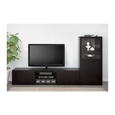 BESTÅ TV storage combination/glass doors - Lappviken/Sindvik black-brown clear glass, drawer runner, soft-closing - IKEA